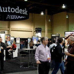 Imagen de stand de Autodesk en feria