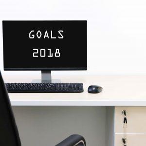 """Pantalla de ordenador con el mensaje """"Objetivos 2018"""""""