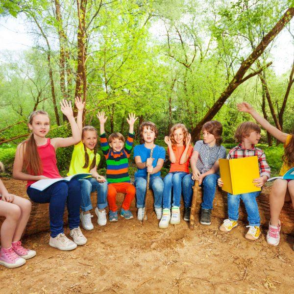 Chicos leyendo en un campamento al aire libre